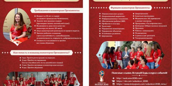 1 июня 2016 г. — старт регистрации кандидатов в волонтеры Чемпионата мира по футболу FIFA 2018